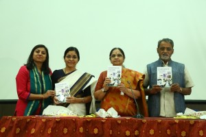 Dr Jhilam Chattaraj's book being released by Ms Volga, Dr K. Sarada and Corespondent cum Secretary Prof. K. Muthyam Reddy